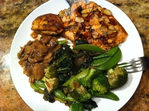 Salmon, Broccoli, Collard Greens and Sugar snaps