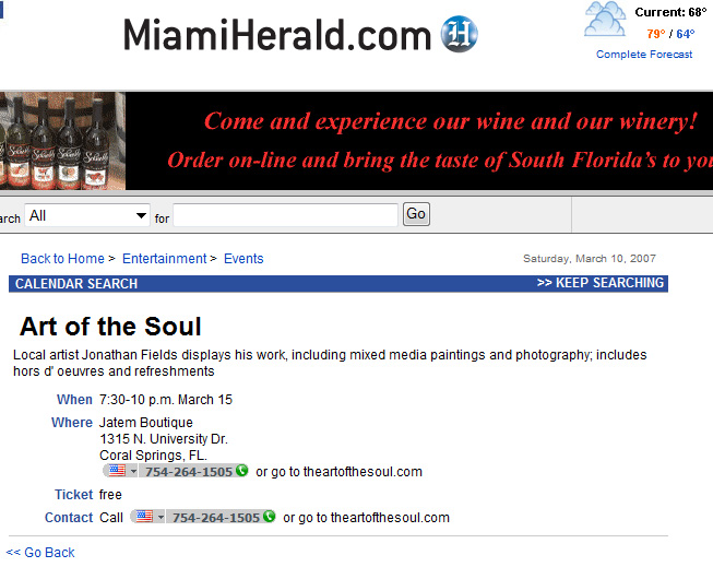 Miami Herald South Florida Artist Jonathan M. Fields