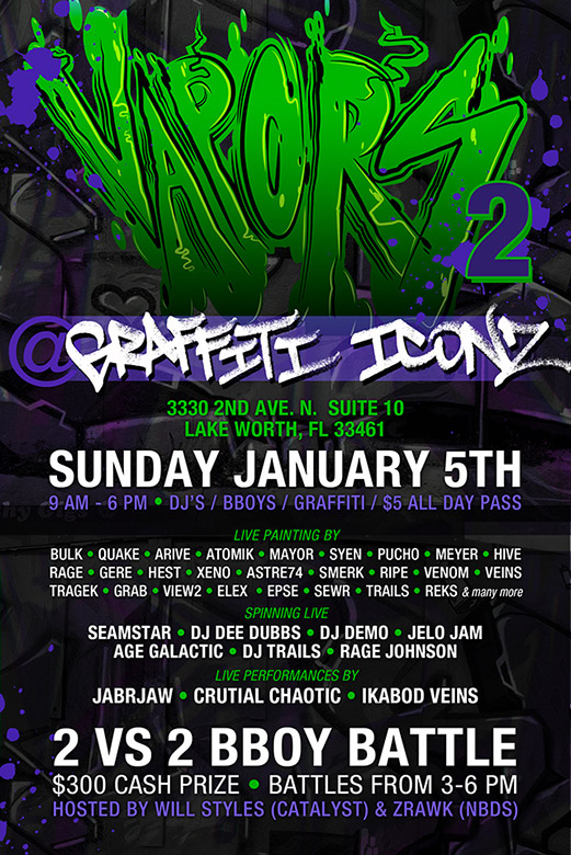 Vapors 2 FL Graffiti Art Flyer