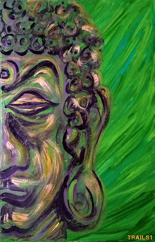 street art live painting buddha
