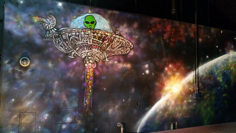 Street Art UFO Robot Mural