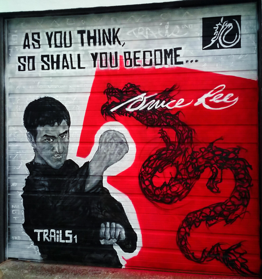 12x12 Graffiti Bruce Lee Street Art Mural by Miami Artist Trails1